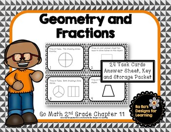 Go Math 2nd Grade Chapter 11 Geometry and Fractions Task Cards