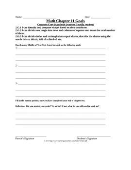 Go Math! 2nd Grade Chapter 11 Student Goals