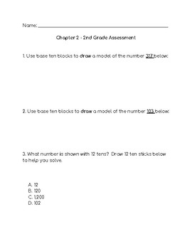 Go Math 2nd Grade Chapter 2 Modified Test