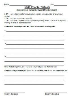 Go Math! 2nd Grade Chapter 3 Student Goals