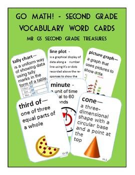Go Math 2nd Grade Vocabulary Math Word Cards
