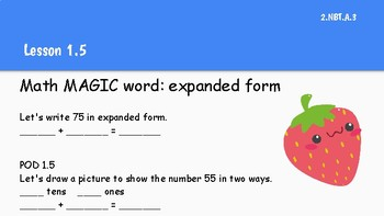 Go Math! 2nd grade Vocabulary Warm ups Chapter 1 & Word Wall Cards