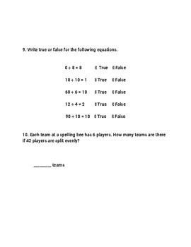 Go Math 3rd Grade Chapter 7 Alternate Assessment