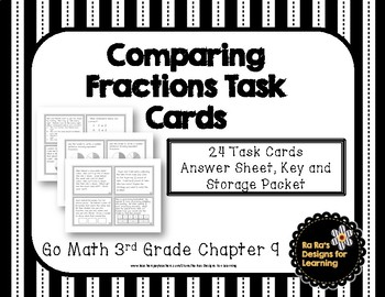 Go Math! 3rd Grade Chapter 9 Comparing Fractions Task Cards