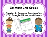 Go Math 3rd Grade Chapter 9 Tests - Compare Fractions - Di