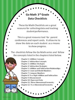 Go Math 3rd Grade Data Checklists Tpt