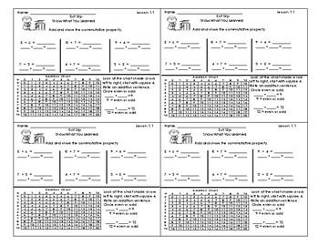 Go Math 3rd Grade Exit Slips Assessment Chapter 1