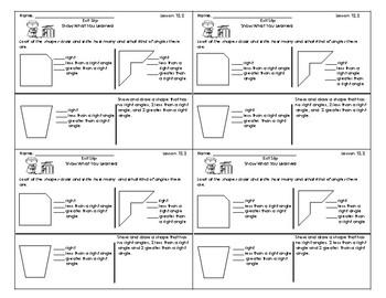 Go Math 3rd Grade Exit Slips Assessment Chapter 12