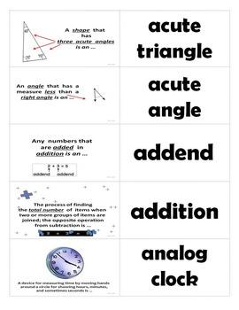 Go Math 3rd Grade Journal Vocabulary Sort Cards