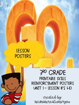 Go Math! 3rd Grade Unit Chapter 1: Lesson Reinforcement Wall Posters 8.5x11
