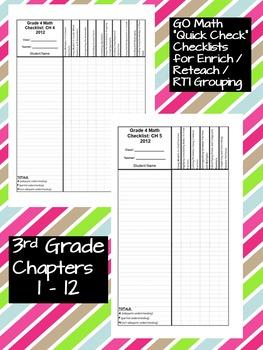Go Math 3rd Grade Quick Check Assessment Checklists for 2014-15