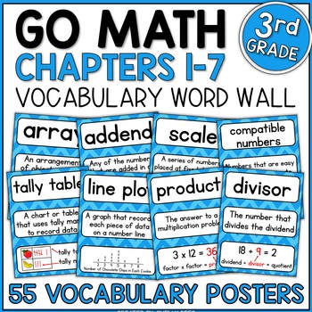 Go Math 3rd Grade Vocabulary Packet - Chapters 1-7: Definitions, Examples