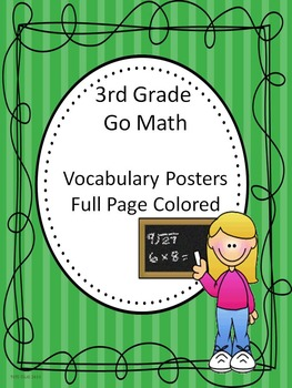Go Math 3rd Grade Full Page Colored Vocabulary Posters