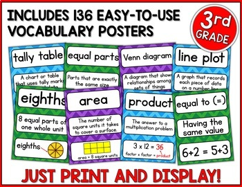 Go Math 3rd Grade Vocabulary for the Year Bundle