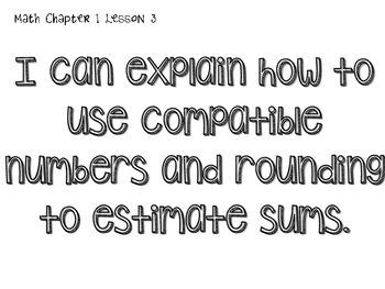 Go Math! 3rd grade I can statements- Chapter 1