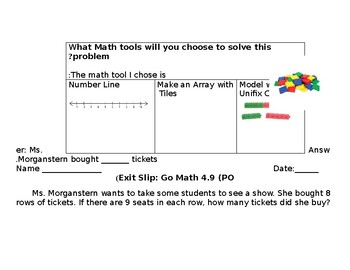 Go Math 4.9 Math Message and Exit Slips