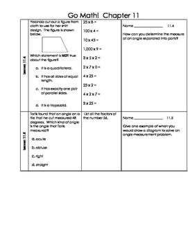 Go Math 4th Grade Ch 11 Problem of the Day Fluency Builder, Exit Ticket & Revie