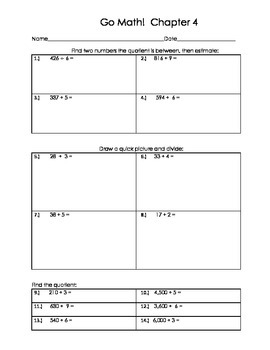 Go Math 4th Grade Ch 4 Problem of the Day Fluency Builder, Exit Ticket  & Review