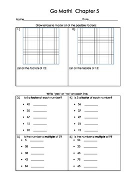 Go Math 4th Grade Ch 5 Problem of the Day Fluency Builder, Exit Ticket & Review