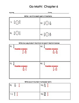 Go Math 4th Grade Ch 6 Problem of the Day Fluency Builder, Exit Ticket & Review