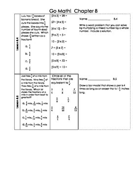 Go Math 4th Grade Ch 8 Problem of the Day Fluency Builder, Exit Ticket & Review