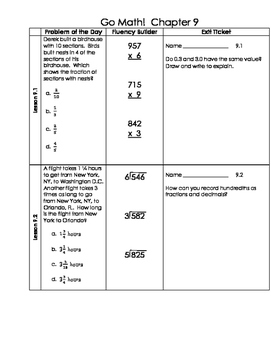 Go Math 4th Grade Ch 9 Problem of the Day Fluency Builder, Exit Ticket & Review