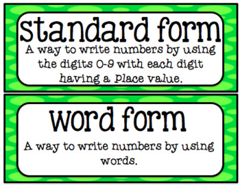 Go Math 4th Grade Chapter 1 Vocabulary