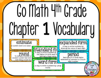 Go Math 4th Grade Chapter 1 Vocabulary
