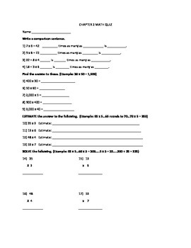 Go Math! 4th Grade Chapter 2 Quiz and Test