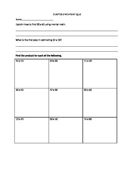 Go Math! 4th Grade Chapter 3 Mid-Chapter Quiz (Estimating Products)