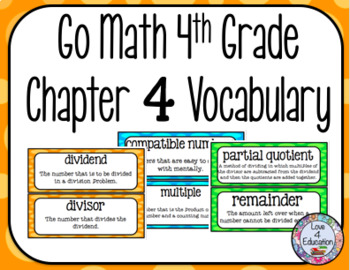 Go Math 4th Grade Chapter 4 Vocabulary