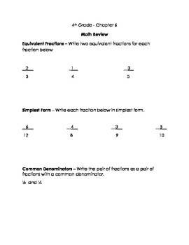 Go Math 4th Grade, Chapter 6 Modified Review and Modified Test