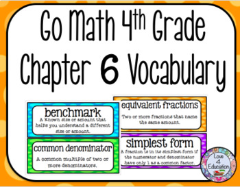Go Math 4th Grade Chapter 6 Vocabulary
