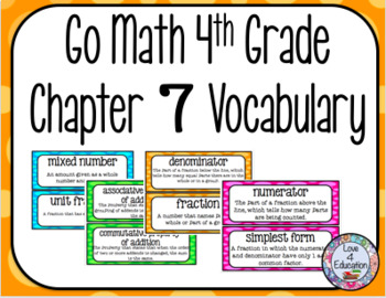 Go Math 4th Grade Chapter 7 Vocabulary