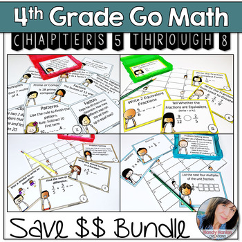 Go Math 4th Grade Chapters 5-8 Hanging Math Center Activities