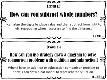 Go Math 4th Grade Essential Questions and I Can Statements