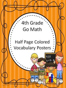 Go Math 4th Grade Half Page Colored Vocabulary Posters