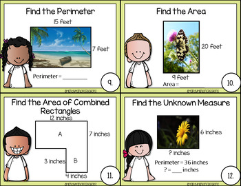 4th Grade Math Center Perimeter and Area Activity