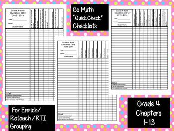 Go Math 4th Grade Quick Check Assessment Checklists for 2014-15