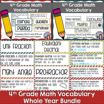 Go Math 4th Grade Vocabulary Chapters 1-13 Bundle
