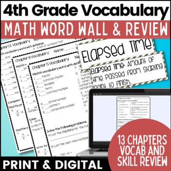 Go Math 4th Grade Vocabulary Signage Whole Year Bundle