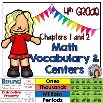 Go Math 4th Grade Vocabulary & Math Centers for Chapters 1 and 2