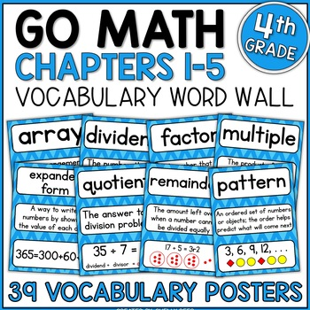 Go Math 4th Grade Vocabulary Packet - Chapters 1-5: Defini