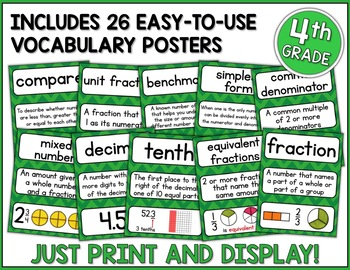 Go Math 4th Grade Vocabulary Packet - Chapters 6-9: Definitions, Examples