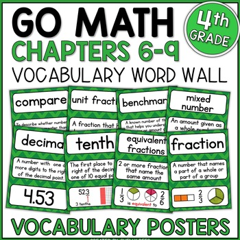 Go Math 4th Grade Vocabulary Packet - Chapters 6-9: Defini
