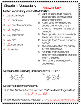 Go Math 4th Grade Vocabulary Worksheets for the Whole Year