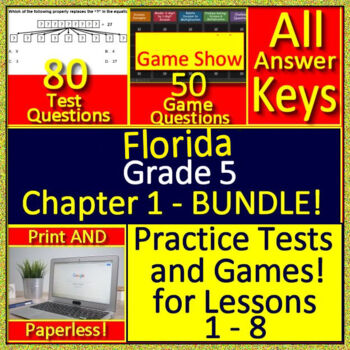 Go Math! 5th Grade Chapter 1 Bundle! Practice Tests and Games for Lessons 1  - 8