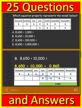 Go Math! 5th Grade Chapter 1 Lessons 5 - 8: Jeopardy Game Show!