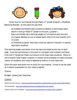 Go Math 5th Grade, Chapter 1 Modified Resource Pack
