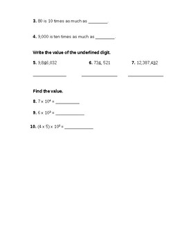Go Math! 5th Grade Chapter 1 Review